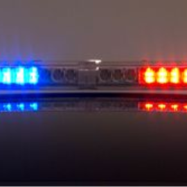 red and blue led lights on top of a police vehicle