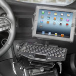gamber dock with keyboard inside police cruiser