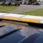 yellow led lights on top of a police vehicle