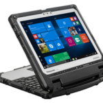 Panasonic Toughpad cf33 tablet flipped using attached keyboard as a stand